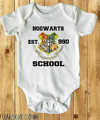 Hogwarts Harry Potter Baby Vest/ Grow White Available In Most Size