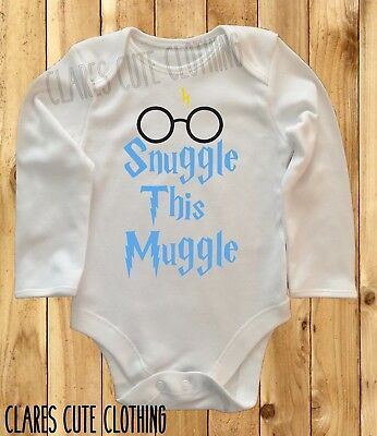 Harry Potter Snuggle This Muggle /glasses Blue Baby Vest/ Grow  Bodysuit Romper
