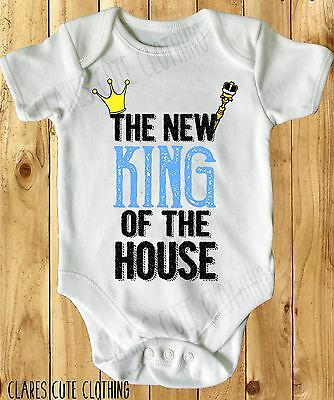 The New King Of The House Baby Vest/ Grow White Available In Most Size
