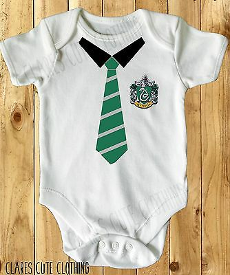 Harry Potter Slytherin School Tie Baby Vest/ Grow White Available In Most Size