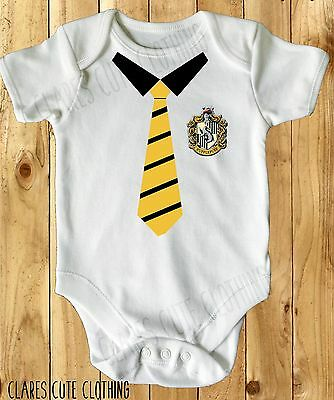 Harry Potter Hufflepuff School Tie Baby Vest/ Grow White Available In Most Size