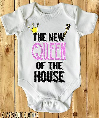 The New Queen Of The House Baby Vest/ Grow White Available In Most Size