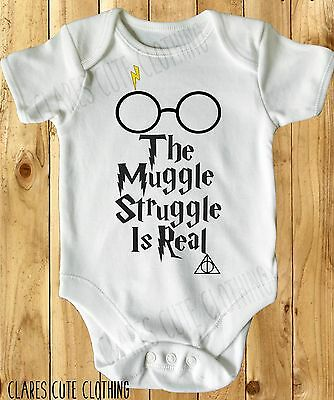 THE MUGGLE STRUGGLE HARRY POTTER  BABY VEST/ GROW WHITE all sizes available
