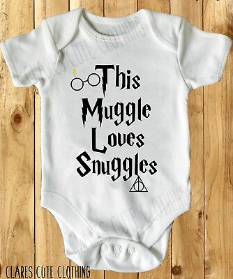 THIS MUGGLE LOVES SNUGGLES POTTER INSPIRED BABY VEST/ GROW all sizes available