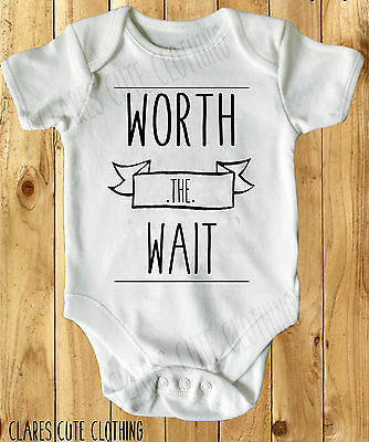 WORTH THE WAIT  BABY VEST/ GROW WHITE all sizes available