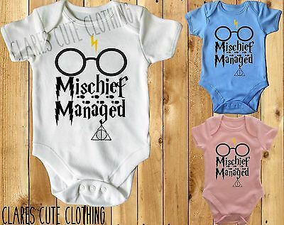 Mischief Managed  Harry Potter Baby Vest/ Grow /bodysuit Available In Most Size