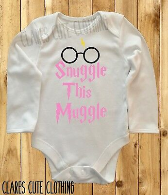 Harry Potter Snuggle This Muggle /glasses Pink Baby Vest/ Grow  Bodysuit Romper