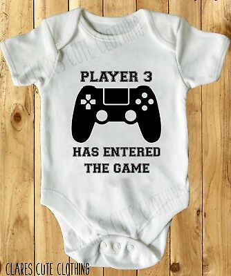 GAMER PLAYER 3 BABY VEST/ GROW WHITE, all sizes available