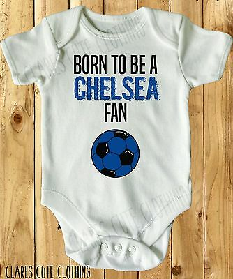 BORN TO BE A CHELSEA FAN BABY VEST GROW WHITE, all sizes available