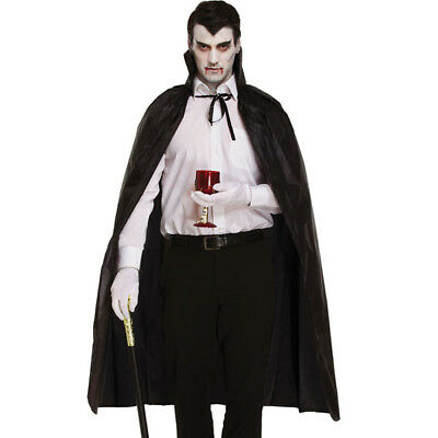 Mens Ladies Halloween Vampire Dracula Witch Black Cape Fancy Dress Costume