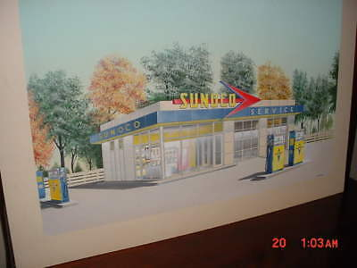 1960's Sunoco Gas Station Air Brush Painting By Ed Barnes Connersville IN.