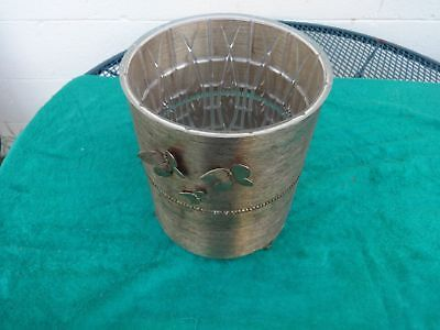 Vintage Ornate Brass Mid Century Small Bathroom Trash Can With Plastic Liner