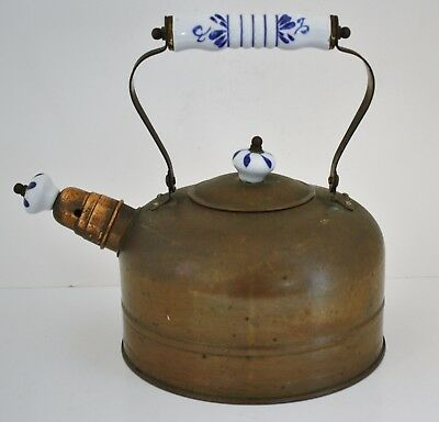 Vintage Copper Tea Kettle With Delft Blue And White Porcelain Handle and Knobs