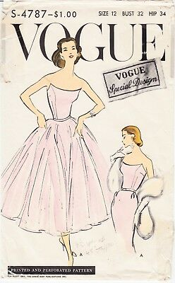 "Rare Vintage Sewing Pattern 1950s Cocktail Evening Dress Vogue S-4787 32"" Bust"