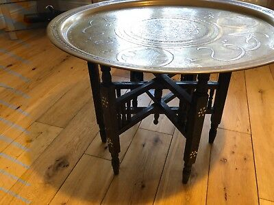 Vintage brass top Moroccan folding tray table.