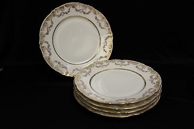 """Antique ca. 1885 5 Haviland French 10"""" plates a lot of gold, garlands of Roses"""