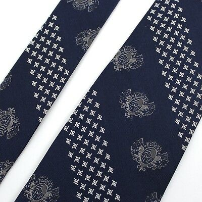 J. PRESS Navy Blue Silver Striped Medallion Silk Trad Tie 3.5""