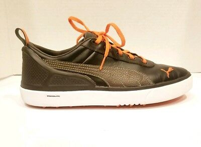 PUMA MENS MONOLITE Spikeless Leather Golf Shoes Size 7 Brown Orange ... 6217e694d