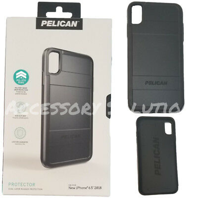 """Pelican Protector Apple iPhone XS Max (6.5"""") Dual Layer Rugged Case Black, NEW"""