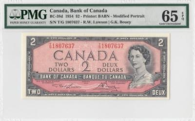 1954 BANK OF CANADA QEII $2 **Consecutive 1 of 3** (( PMG 65 EPQ ))