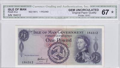 1961 Isle Of Man Qeii 1 Pound **garvey** (( Gem Unc ))
