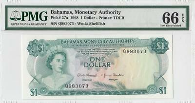 1968 British Colony Bahamas Qeii $1 (( Pmg 66 Epq ))