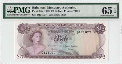 1968 BRITISH COLONY BAHAMAS QEII $1/2 **Consecutive 1 of 2** (( PMG 65 EPQ ))