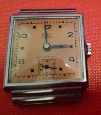 VINTAGE WRIST WATCH WEBCO ART DECO CHROME SWISS MINT CONDITION 1930's 1940's