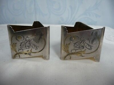 Pair Of Antique Russian Imperial 84 Mark Engraved Gilt Silver Napkin Rings