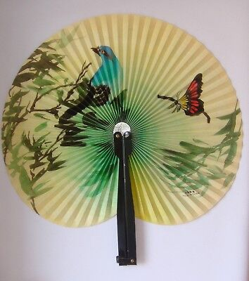 Vintage Lovely Chinese Fan 1950s Paper Metal,  Flower Theme
