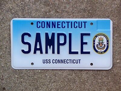Connecticut USS CONNECTICUT Sample License Plate US Navy Submarine SSN 22 Rare