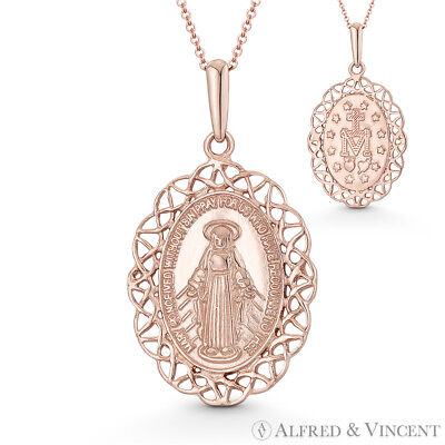 Holy Mother Mary Miraculous Medal Marian Cross 29x16mm Pendant in 14k Rose Gold