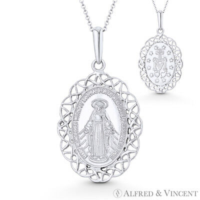 Holy Mother Mary Miraculous Medal Marian Cross 29x16mm Pendant in 14k White Gold