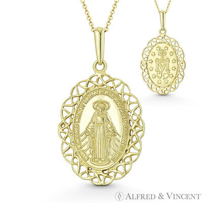 Holy Mother Mary Miraculous Medal Marian Cross 14k Yellow Gold 29mmx16mm Pendant