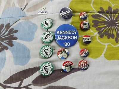 LOT OF 14 1930's-1980's campaign buttons KENNEDY ROOSEVELT CARTER ETC