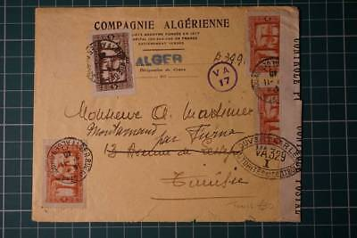 Air Mail flight Par Avion Algeria Tunisia Censor cover