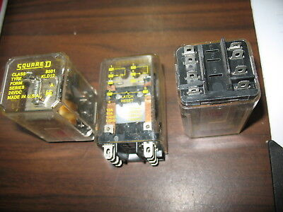 Lot of 3 Square D 8501 KLD12 Relays (24 VDC, 8 Pin Square)