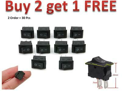10x Rocker Switch Switches 2-Pin Black On/Off Small Mini 3A 12V-250V AC/DC