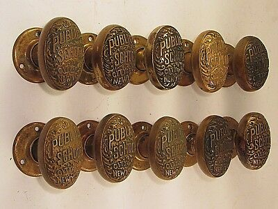 1 Pair of Antique PUBLIC SCHOOL CITY OF NEW YORK Door Knobs and Rosettes
