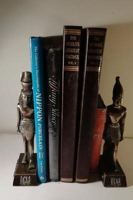 A Pair of Art Deco Bronze Bookends in The Form of Egyptian Figures : c1925