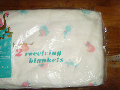 """NEW NOS Toddletime 2 receiving blankets 30x40"""" pink and blue baby animals cotton"""