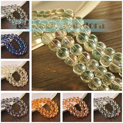 8mm Glass Round Electroplating Transparent Plating Crystal Loose Spacer Beads