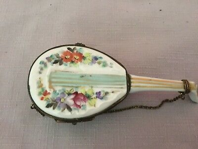 French Georgian Hand Painted Signed musical Instrument Porcelain Box C1820's