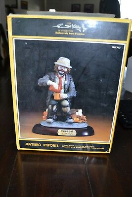Emmett Kelly Jr figurine Flambro Dining Out base box Clown Figurine Collectible