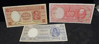 Chile Banknote Lot - 5, 10 & 100 Pesos - Circulated        ENN COINS