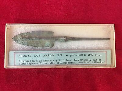 Bronze Age Arrow Tip 500 To 2500 BC Luristan Ancient Artifact
