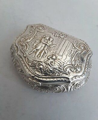 Pretty, Continental Antique Solid Silver Embossed Box.     Import. Sheff. 1897.