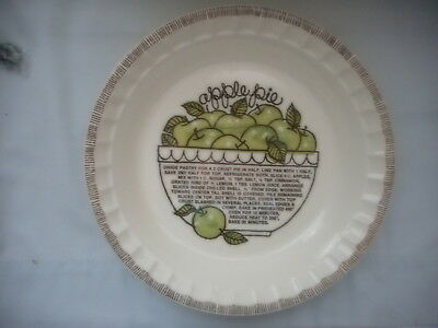 Royal China Jeannette Apple Pie Baking Dish/Pan/Plate With Recipe - USA Made