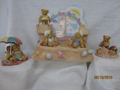 Cherished teddies by the sea,with sand castle,picnic,bathing beauties,backdrop
