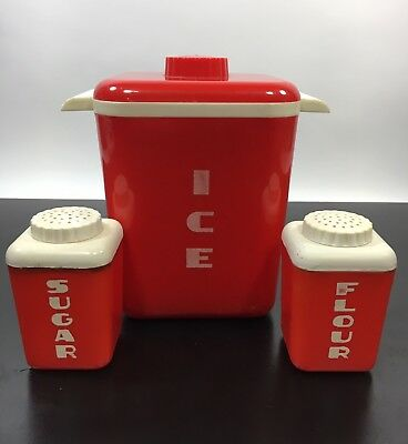 Vtg Red Lustro Ware ICE Canister Bucket, Mini Travel Flour & Sugar Containers